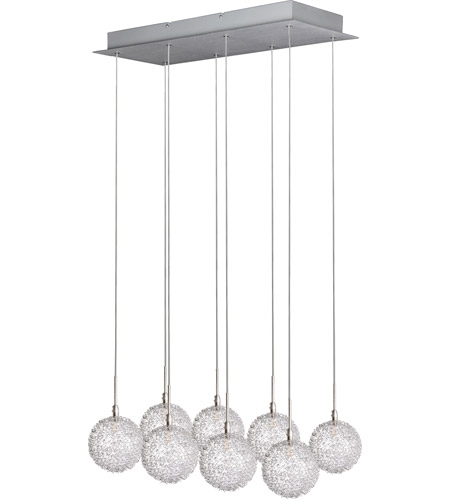 ET2 E20107-78 Starburst 8 Light 24 inch Satin Nickel and Polished Chrome Pendant Ceiling Light in Mesh photo