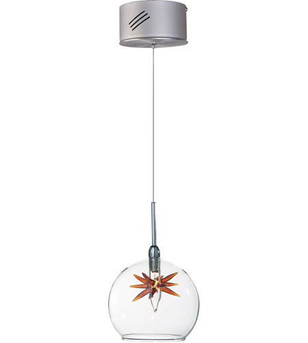 ET2 E20108-25 Starburst 1 Light 4 inch Satin Nickel and Polished Chrome Mini Pendant Ceiling Light in Clear/Amber photo