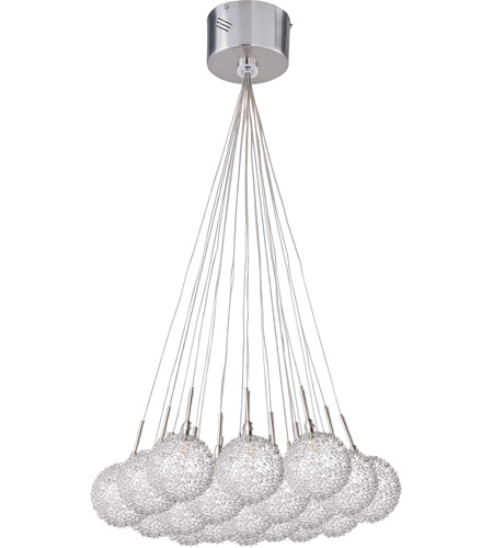 ET2 E20113-78 Starburst 19 Light 20 inch Satin Nickel and Polished Chrome Pendant Ceiling Light in Mesh photo