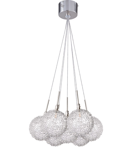 ET2 E20114-78 Starburst 7 Light 12 inch Satin Nickel and Polished Chrome Pendant Ceiling Light in Mesh photo