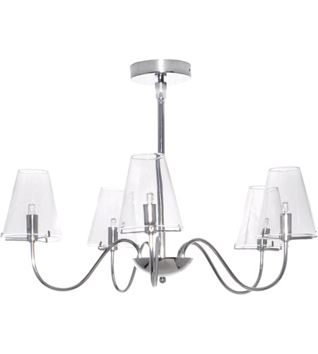 ET2 E20292-10 Chic 5 Light 26 inch Polished Chrome Chandelier Ceiling Light photo