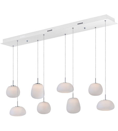 ET2 E21125-11WT Puffs 8 Light 53 inch White Linear Pendant Ceiling Light photo