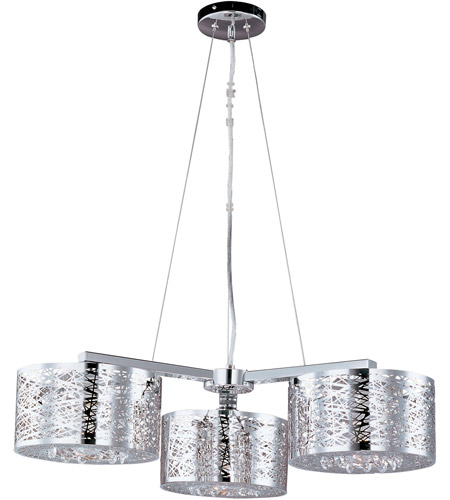et2 e21303 10pc inca 3 light 28 inch polished chrome pendant ceiling