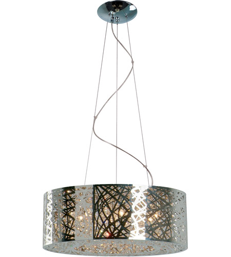 ET2 E21308-10PC Inca 9 Light 24 inch Polished Chrome Pendant Ceiling Light in Without Bulb, Clear/White  photo