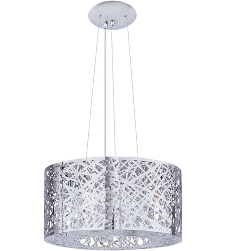 ET2 E21309-10PC Inca 7 Light 16 inch Polished Chrome Pendant Ceiling Light in Without Bulb, Clear/White photo
