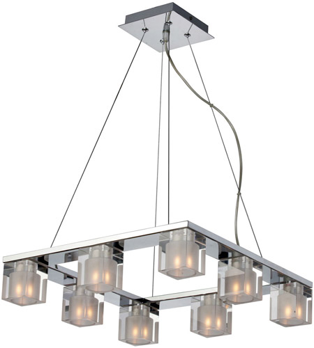 ET2 E22037-18 Blocs 8 Light 17 inch Polished Chrome Pendant Ceiling Light photo