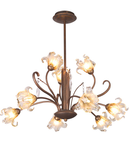 ET2 E22064-26 Bloom 9 Light 28 inch Antique Bronze Chandelier Ceiling Light photo