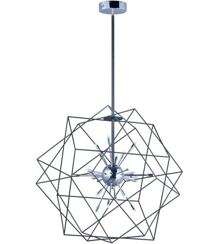 ET2 E22914 BKPC Rubic LED 34 Inch Black And Polished Chrome Single Pendant Ceiling Light