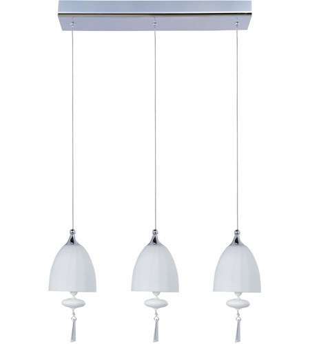 ET2 E24353-11PC Chute 3 Light 18 inch Polished Chrome Linear Pendant Ceiling Light in Matte White photo