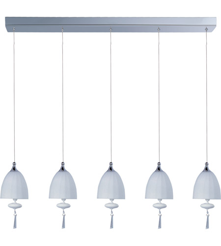 ET2 E24355-11PC Chute 5 Light 34 inch Polished Chrome Linear Pendant Ceiling Light in Matte White photo