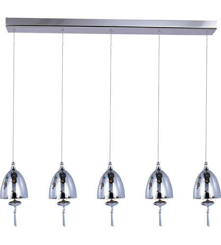 ET2 E24355-81PC Chute 5 Light 34 inch Polished Chrome Linear Pendant Ceiling Light in Mirror Chrome photo