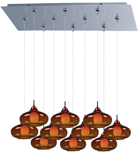 ET2 E93948-141PC Minx 10 Light 32 inch Polished Chrome Linear Pendant Ceiling Light in Graduating Amber photo