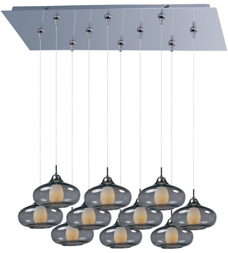 ET2 E93948-142PC Minx 10 Light 32 inch Polished Chrome Linear Pendant Ceiling Light in Graduating Smoke photo
