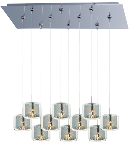 ET2 E93949-146PC Minx 10 Light 32 inch Polished Chrome Linear Pendant Ceiling Light in Clear/Mirror photo