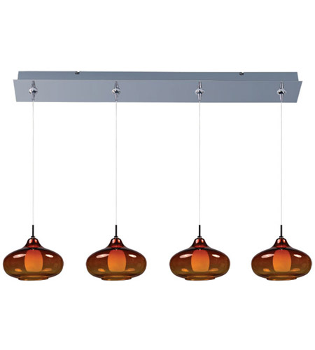 ET2 E94948-141PC Minx 4 Light 35 inch Polished Chrome Linear Pendant Ceiling Light in Graduating Amber photo