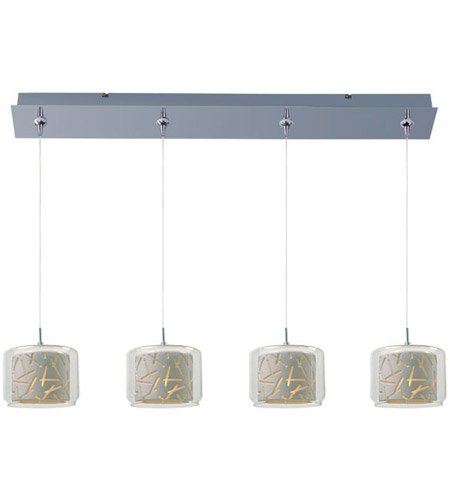 ET2 E94949-10PC Minx 4 Light 35 inch Polished Chrome Linear Pendant Ceiling Light in Clear/White photo