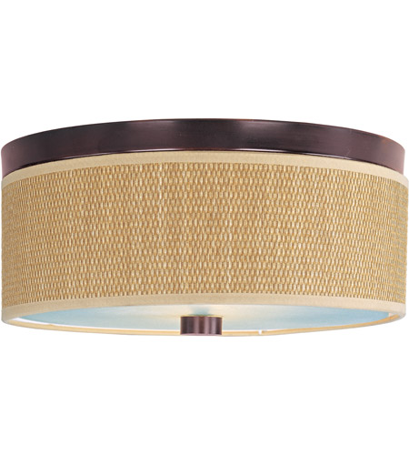 ET2 E95002-101OI Elements 2 Light 14 inch Oil Rubbed Bronze Flush Mount Ceiling Light in Grass Cloth photo