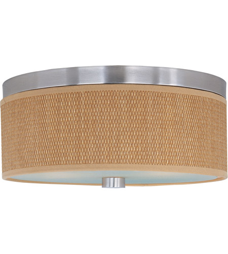 ET2 E95002-101SN Elements 2 Light 14 inch Satin Nickel Flush Mount Ceiling Light in Grass Cloth  photo