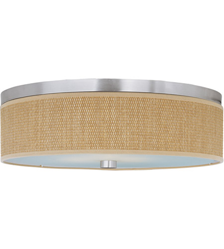 ET2 E95004-101SN Elements 3 Light 20 inch Satin Nickel Flush Mount Ceiling Light in Grass Cloth photo