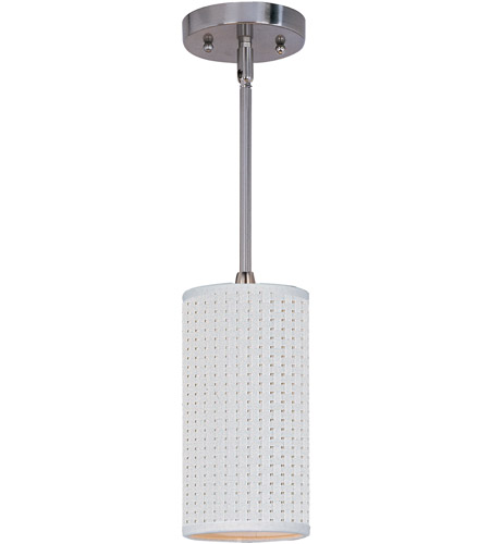 ET2 E95022-100SN Elements 1 Light 5 inch Satin Nickel Mini Pendant Ceiling Light in White Weave photo