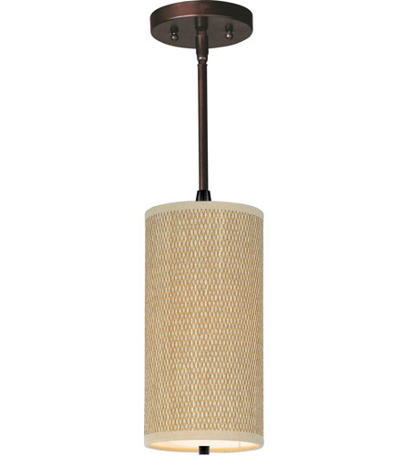 ET2 E95032-101OI Elements 1 Light 6 inch Oil Rubbed Bronze Mini Pendant Ceiling Light in Grass Cloth photo
