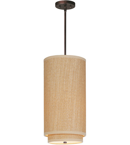 ET2 E95042-101OI Elements 1 Light 10 inch Oil Rubbed Bronze Mini Pendant Ceiling Light in Grass Cloth photo