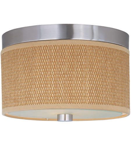 ET2 E95100-101SN Elements 2 Light 10 inch Satin Nickel Flush Mount Ceiling Light in Grass Cloth photo