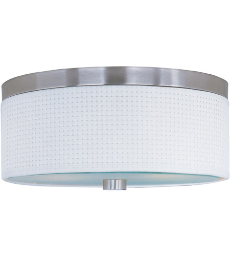 ET2 E95102-100SN Elements 3 Light 14 inch Satin Nickel Flush Mount Ceiling Light in White Weave photo