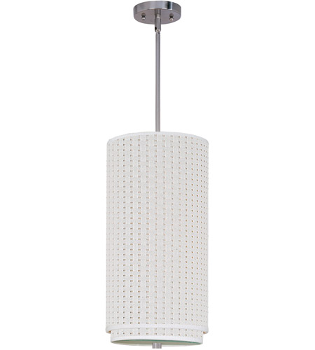 ET2 E95144-100SN Elements 1 Light 10 inch Satin Nickel Mini Pendant Ceiling Light in White Weave photo