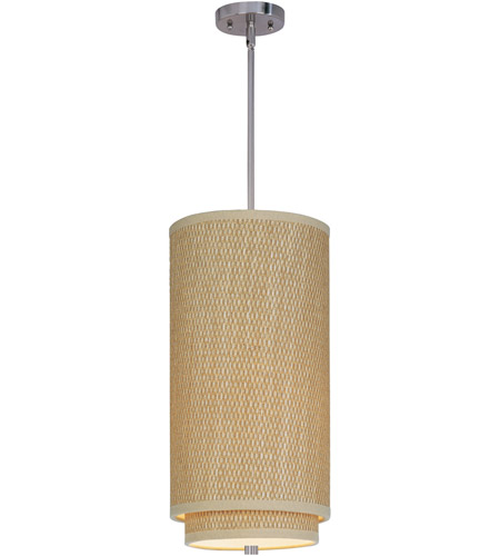 ET2 E95144-101SN Elements 1 Light 10 inch Satin Nickel Mini Pendant Ceiling Light in Grass Cloth photo