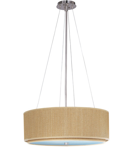 ET2 E95160-101SN Elements 4 Light 23 inch Satin Nickel Pendant Ceiling Light in Grass Cloth photo