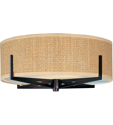ET2 E95300-101OI Elements 2 Light 16 inch Oil Rubbed Bronze Flush Mount Ceiling Light in Grass Cloth photo