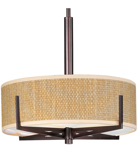 ET2 E95305-101OI Elements 3 Light 16 inch Oil Rubbed Bronze Pendant Ceiling Light in Grass Cloth photo