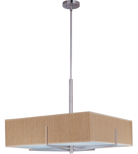 ET2 E95348-101SN Elements 3 Light 26 inch Satin Nickel Pendant Ceiling Light in Grass Cloth photo