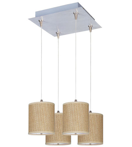 ET2 E95495-101SN Elements 4 Light 14 inch Satin Nickel Pendant Ceiling Light in White Lava, Grass Cloth photo