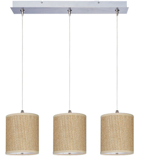 ET2 E95497-101SN Elements 3 Light 25 inch Satin Nickel Linear Pendant Ceiling Light in White Lava, Grass Cloth photo