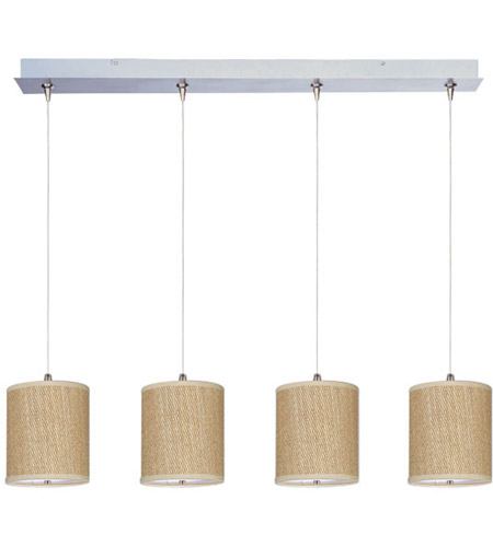 ET2 E95499-101SN Elements 4 Light 35 inch Satin Nickel Linear Pendant Ceiling Light in White Lava, Grass Cloth photo