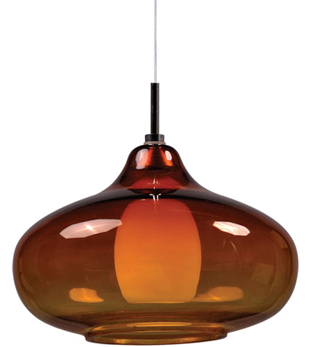 ET2 EP96085-141PC Minx 1 Light 8 inch Satin Nickel RapidJack Pendant Ceiling Light in Graduating Amber photo