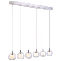 ET2 Nucleus 6 Light Linear Pendant in Brushed Aluminum and Polished Chrome E20058-10