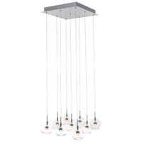 ET2 E20106-25 Starburst 9 Light 16 inch Satin Nickel and Polished Chrome Pendant Ceiling Light in Clear/Amber
