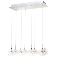 ET2 E20107-25 Starburst 8 Light 24 inch Satin Nickel and Polished Chrome Pendant Ceiling Light in Clear/Amber