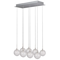 Starburst 8 Light 24 inch Satin Nickel and Polished Chrome Pendant Ceiling Light in Mesh