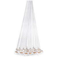 Starburst 37 Light 33 inch Satin Nickel and Polished Chrome Pendant Ceiling Light in Clear/Amber