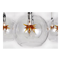 ET2 E20114-25 Starburst 7 Light 12 inch Satin Nickel and Polished Chrome Pendant Ceiling Light in Clear/Amber alternative photo thumbnail