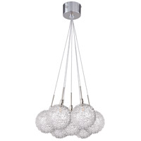 ET2 E20114-78 Starburst 7 Light 12 inch Satin Nickel and Polished Chrome Pendant Ceiling Light in Mesh