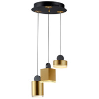 ET2 E20863-75BKGLD Nob LED 14 inch Black and Gold Multi-Light Pendant Ceiling Light
