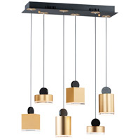 ET2 E20866-75BKGLD Nob LED 25 inch Black and Gold Linear Pendant Ceiling Light