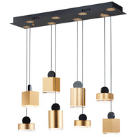 ET2 E20867-75BKGLD Nob LED 33 inch Black and Gold Linear Pendant Ceiling Light