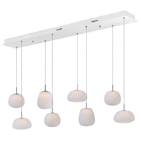 Puffs 8 Light 53 inch White Linear Pendant Ceiling Light