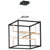 ET2 E21224-BKGLD Chamber LED 18 inch Black and Gold Single Pendant Ceiling Light